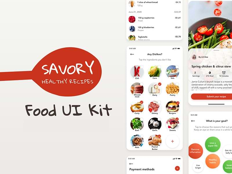 Savory: Free UI kit for food apps