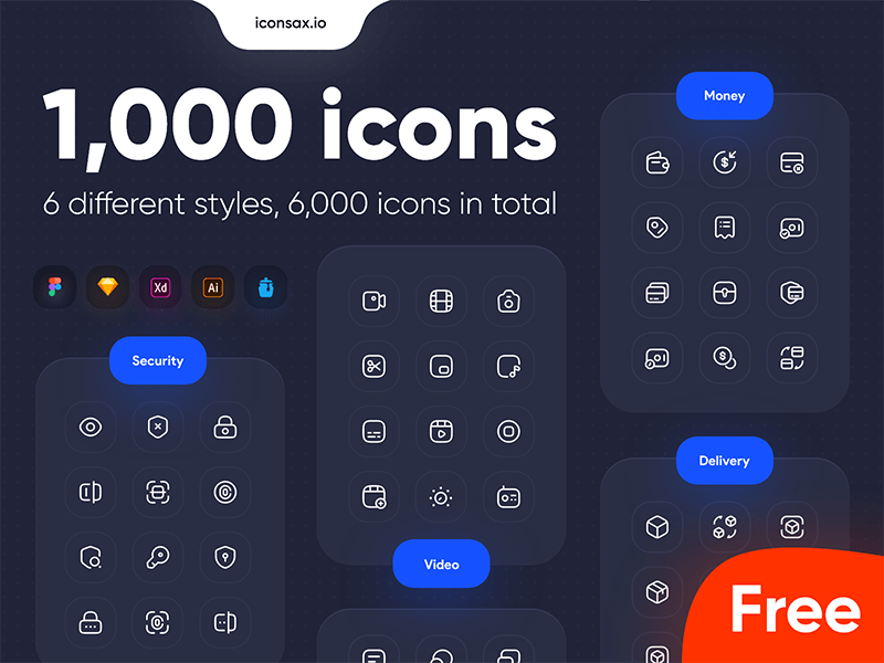 Iconsax: 1000 icons with 6 different styles